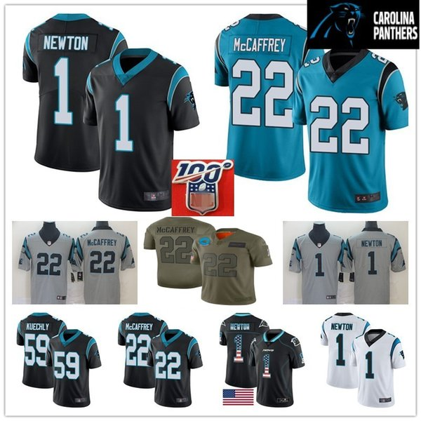 100th patch mens carolina jersey #1 cam newton 59 luke kuechly panther 22 christian mccaffrey 13 kelvin benjamin 90 julius peppers stitched, Black;red