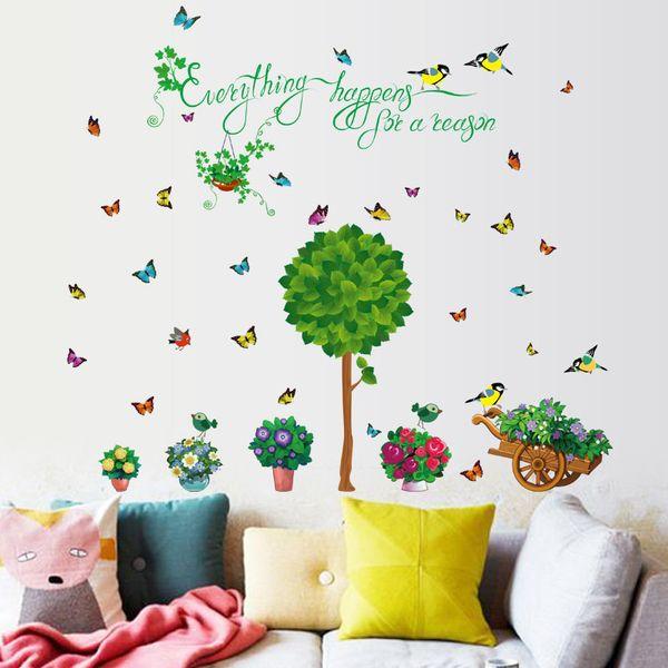 tree flower butterfly garden wall stickers for kids rooms children room nursery bedroom living room home decor mural