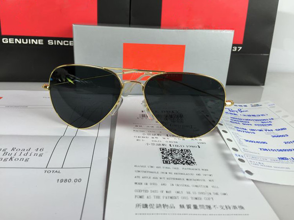 Luxury Ray Polarized Sunglasses Men Women Pilot Sunglasses UV400 Eyewear Aviator Glasses Driver Bans Metal Frame Polaroid Lens box