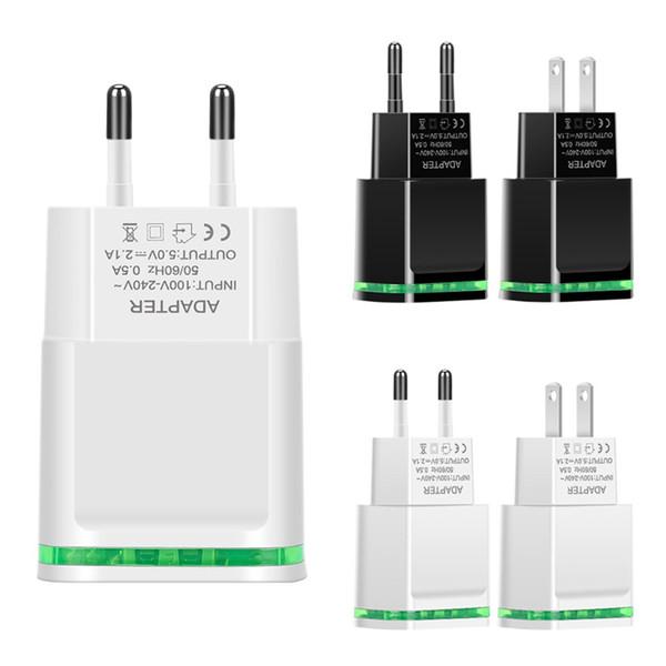 5V 2.1A Cargador de pared rápido UE EE. UU. Luz LED Puertos USB duales Teléfono móvil Adaptador de cargador de viaje de pared para Samsung iPhone htc
