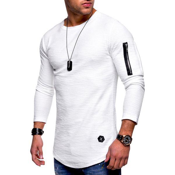 Летние мужские футболки с круглым вырезом с длинным рукавом Повседневная сплошной черный белый серый хип-хоп футболки M-3XL