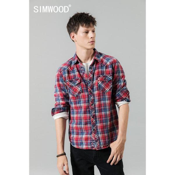 SIMWOOD invierno 2019 otoño nuevas camisas a cuadros ocasionales de los hombres de retención doble bolsillo de alta calidad 100% camisa de algodón 190459
