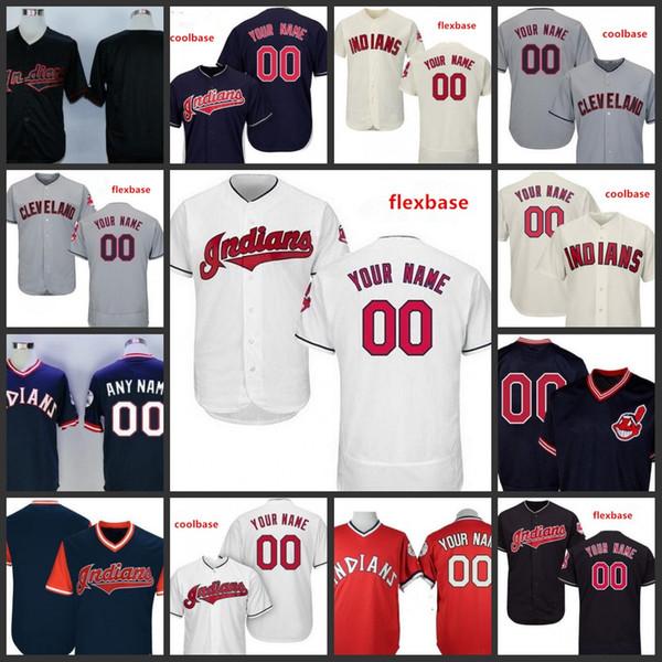 Custom 2019 Indians Stitched Jersey Uomo 12 Francisco Lindor 99 Rick Vaughn Cleveland 7 Kenny Lofton Tutte maglie ricamate cucite