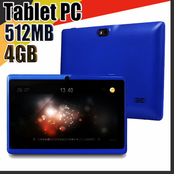 """best selling 168 Allwinner A33 7"""" Android Tablet Q88 Quad Core Android 4.4 512MB   4GB dual cameras 9 color bluetooth better batteries Flashlight C-7PB"""