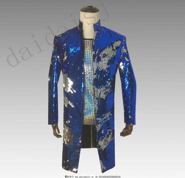 New men's flip suit Sequin costumes Bar nightclub DJ stage host singer flip costume