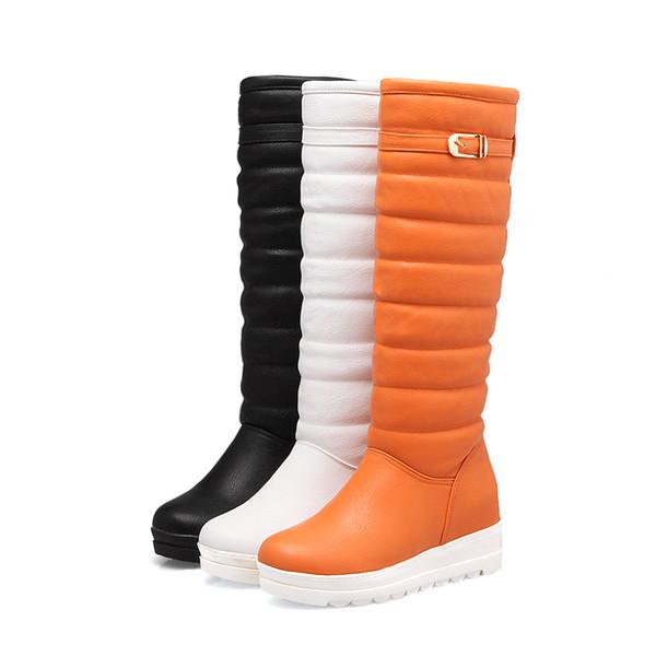 Winter White Flat Snow Boots Women's High Tube Plus Velvet Thick Warm Long Boots Thick Bottom Slip