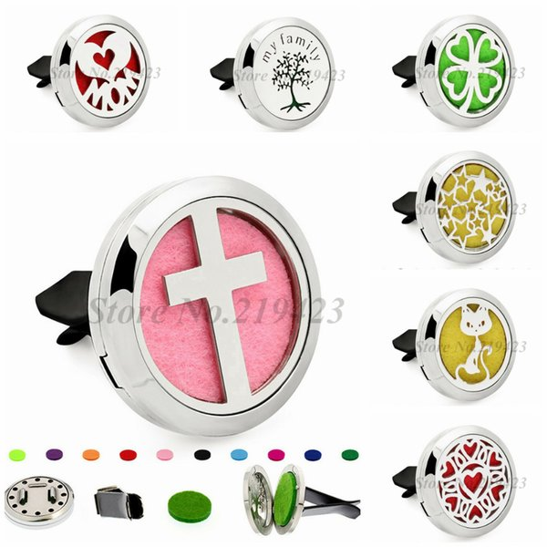 Cross Family Tree Stars 30mm Magnet Stainless Steel Removable Perfume Car Diffuser Locket Vent Clip 10pcs Pads