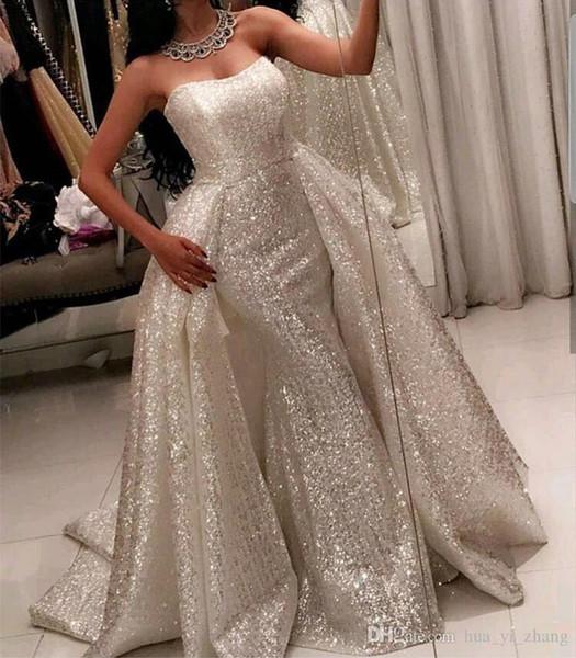 Sparkly Sleeveless Prom Dress with Detachable Overlay Skirt Bling Bling Strapless Evening Dress