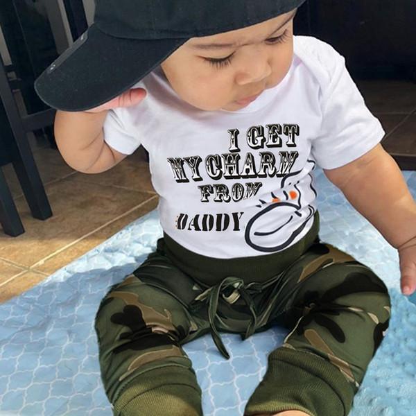 Детская одежда Спортивный костюм Детские комплекты для новорожденных мальчиков с коротким рукавом Письмо комбинезон + камуфляж брюки наряды #D