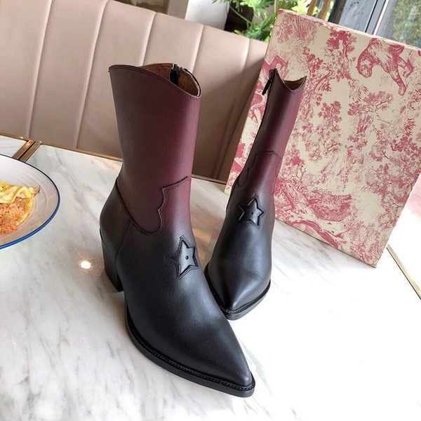 Hot Sale- 2019 Luxury Designer Thick botto winter woman Pointed boots Genuine cowhide boots with ladies shoes Half Boots with shoe box