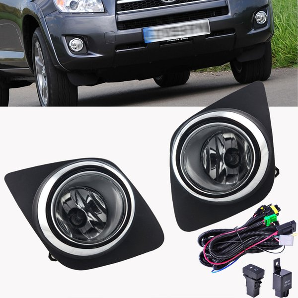 Fits For Toyota RAV4 2009-2012 Front Bumper Grill Cover Clear Lens Fog Light Led Switch Harness