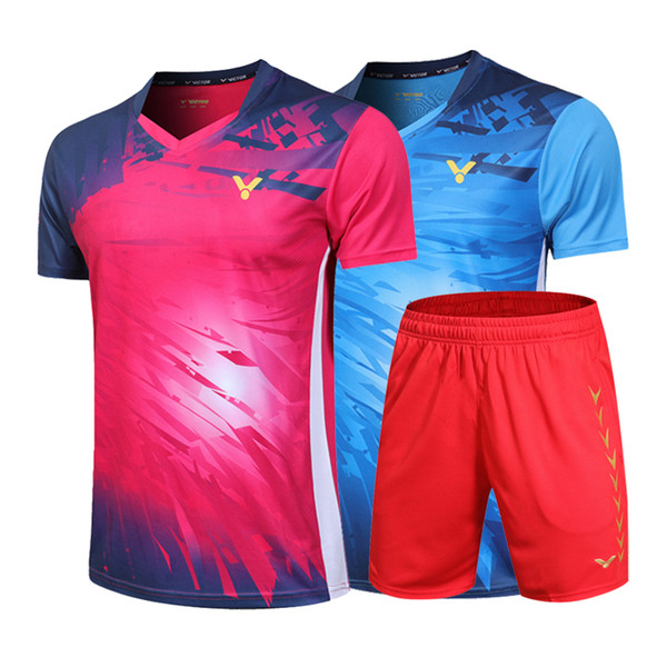 top popular New 2019 Victor badminton wear t-shirt,Malaysia Competition badminton Clothes Men women Clothes jersey Quick-drying table tennis shorts 2020