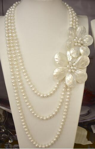 2019 new arrival fashion 3 rows freshwater pearl mother of pearl sea shell pearl flower necklace for women