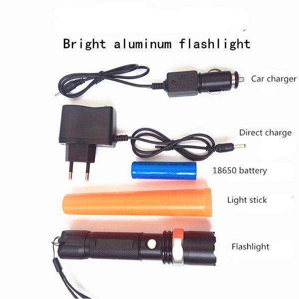 Venda quente Forte luz lanterna set led liga de alumínio tiro longo rei acampamento ao ar livre presente luz vara caixa de presente