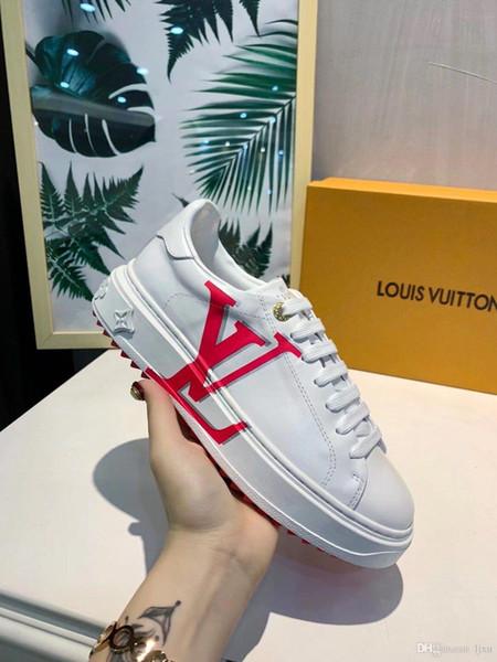 diseñador de moda de lujo zapatos de mujer calçados casuais com cabeça redonda e couro branco superiores sapatilhas monogrammed para homens # 3F