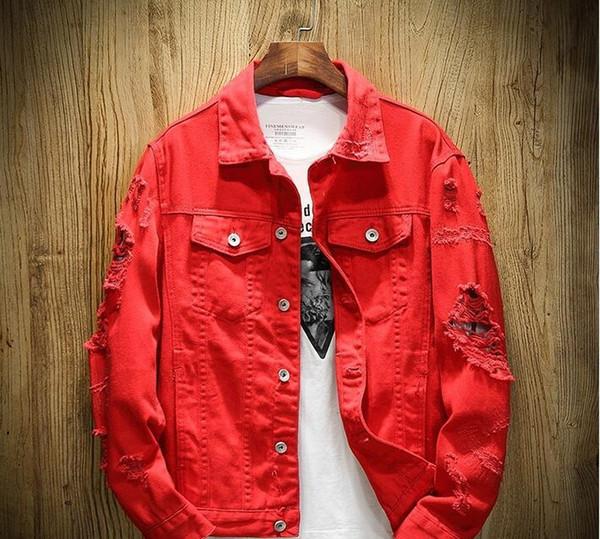 2019 Nouveau mode en Europe Designer Denim Homme Veste Holes Ripped femmes manteau rose hip-hop Jean Vestes New Marque délevé Mens Denim 0052