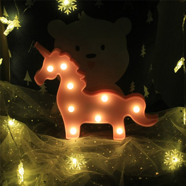 Cute unicorn giraffe Crown Led Night Light Animal Marquee Lamps On Wall For Children Party Bedroom Christmas Decor Kids Gifts