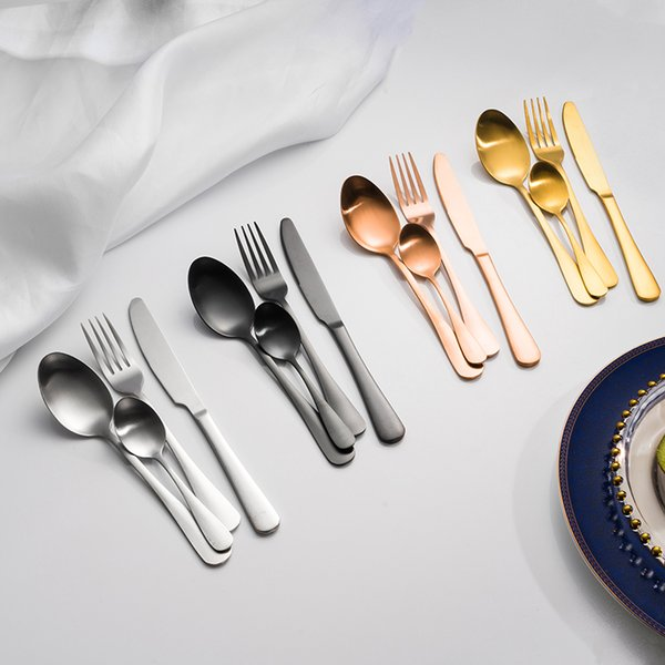 Posate in acciaio inox set opaco 4 colori occidentale da tavola coltello forchetta cucchiaio cucchiaino posate set spedizione gratuita