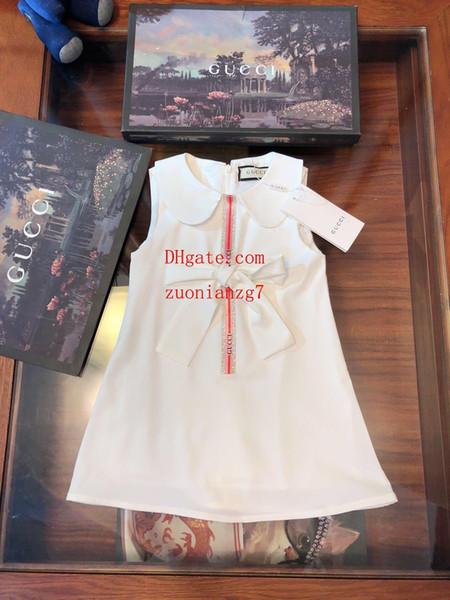 Marca crianças roupas meninas branco fresco estilo vestido de menina vestido de chiffon de lapela vestido de baile Clássico modelos selvagens Qualidade crianças roupas