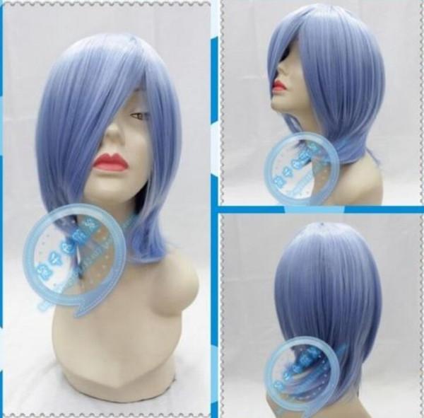 Парик NEW COS бесплатно парик косплей новый COS светло-синие парики короткие прямые волосы парики короткие волосы