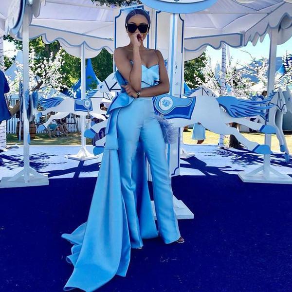 Gökyüzü Mavi Balo Tulum Tren Ile 2019 Mat Leke Straplez Draped Peplum Arapça Dubai Durum Abiye Pantolon Suit
