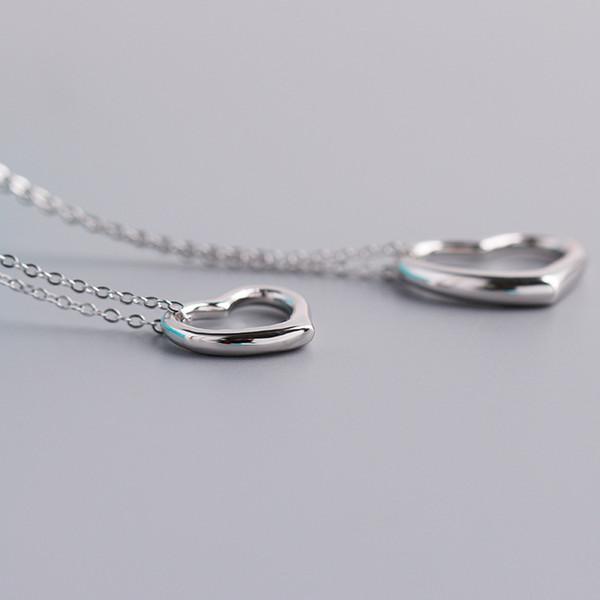 Kadınlar 925 Ayar Gümüş Aşk Kolye Tasarımcı Takı Lüks Kadın Hollow Kalp Kolye Zinciri Düğün Nişan Takı