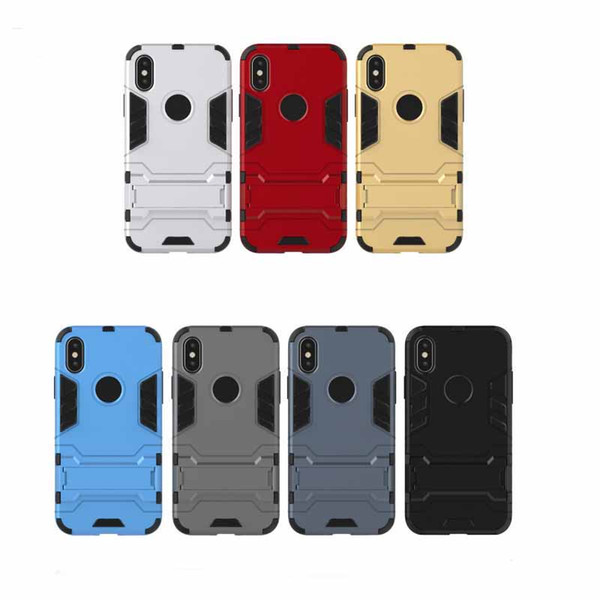 Luxo híbrido armadura case para iphone xs xr xs max à prova de choque tpu pc phone holder capa para iphone 7 8 plus x case