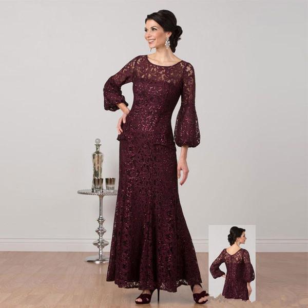 Bourgogne dentelle sirène mère de la mariée robes avec manches longues col bateau paillettes robes de soirée étage longueur robe de mariée