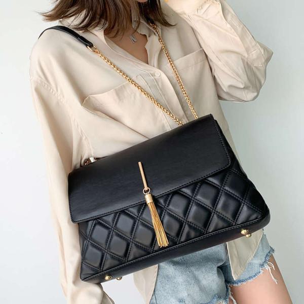 Classic Plaid Casual Tote Bag 2020 Fashion New Quality Pu Leather Women's Designer Handbag Tassel Chain Shoulder Messenger Bags