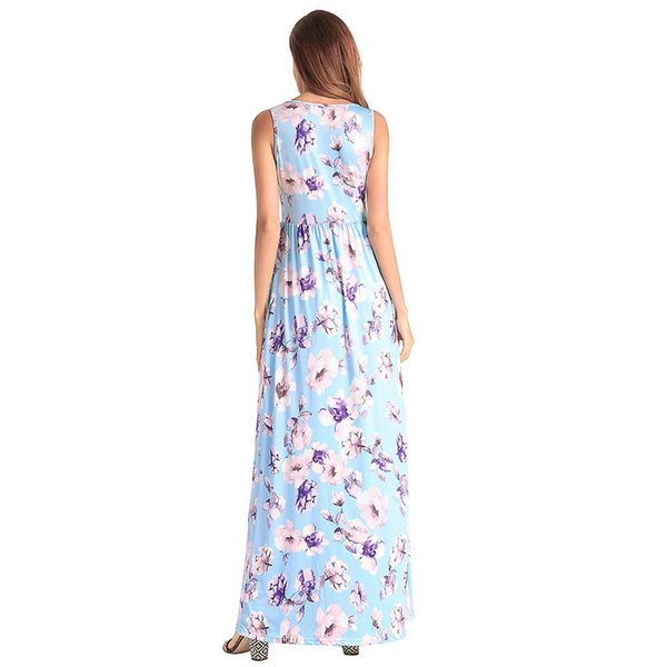 08e1aed262 2019 Long Maxi Beach Summer Dress Women Floral Dress Sleeveless Side Pockets  Elastic High Waist Dress Casual Sundress Female
