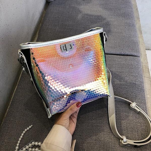 2019 новый бренд женские сумки Лазерная МОДА СТИЛЬ вечерние сумки прозрачные наплечные сумки желе конфеты ремень ясно женщины сумка