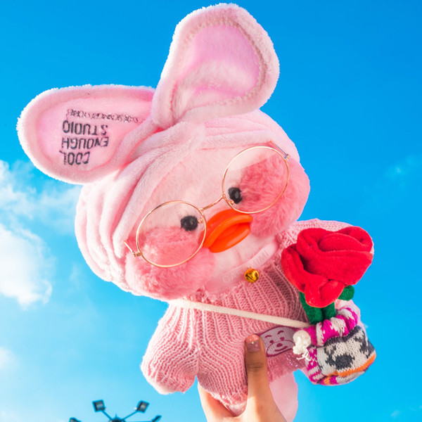 30cm Kawaii LaLafanfan Cafe Duck Plush Toy Cartoon Cute Duck Stuffed Doll Soft Animal Dolls Kids Toys Birthday Gift for Children
