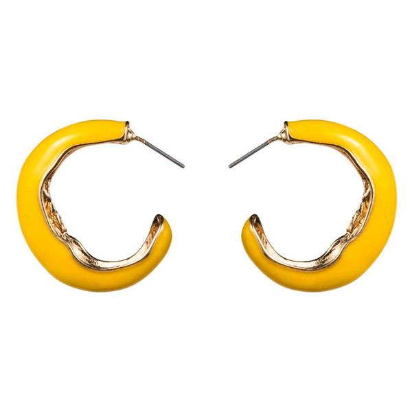 Venta caliente 3 Colores de Aleación Esmaltada C-estilo Stud Pendientes Accesorios Para Las Mujeres Joyería de Moda Colección Bohemia Pendientes de la joyería