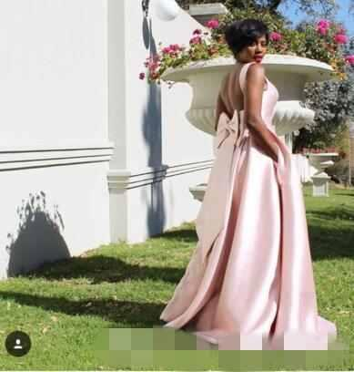 2019 Elegant Pink Bridesmaid Dresses With Bow Stain With Pocket Maid Of The Honor Guest Gown Formal prom Evening Dresses Custom Made
