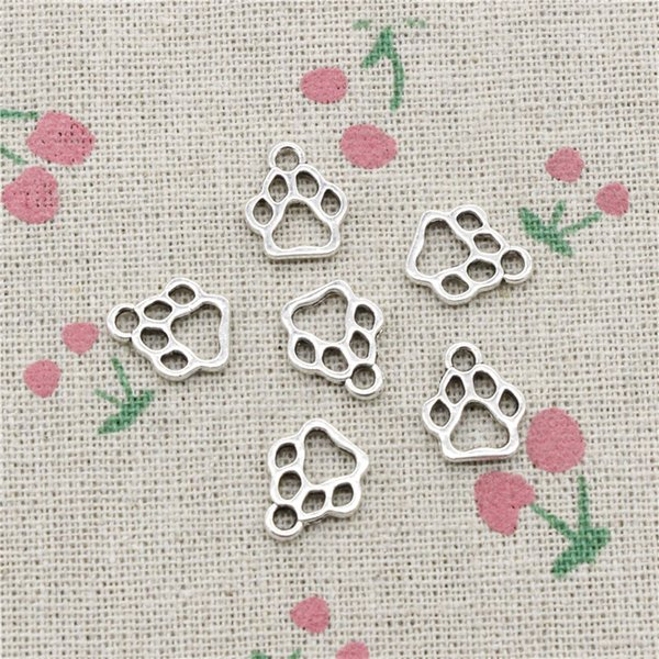 200pcs Charms dog paw 13*11mm Tibetan Silver Vintage Pendants For Jewelry Making DIY Bracelet Necklace