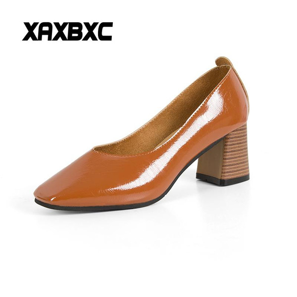 Designer Dress Shoes XAXBXC 2019 New Spring Summer Leather Shallow High Heels Women Pumps Square Toe Slip-On Office Career Ladies