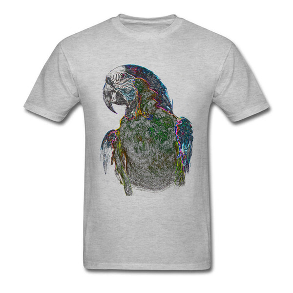 Design Neon Parrot Round Neck Top T Shirts Lovers Day Tops & Tees Short Sleeve For Men Discount Cotton Fabric Crazy T Shirt