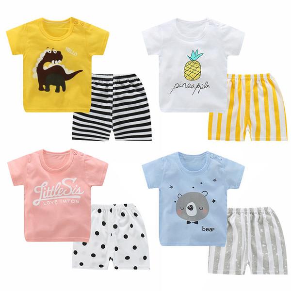 2 Pçs / sets Algodão Verão Crianças Menino Menina Conjuntos de Roupas Crianças Dos Desenhos Animados Criança T Shirt Shorts Criança Lazer Esporte T-Shirt