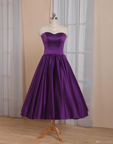 Vintage Tee Länge Brautkleider A-Line Short Brautkleider Maßgeschneiderte Größe Plus Size Bridemaid Kleider