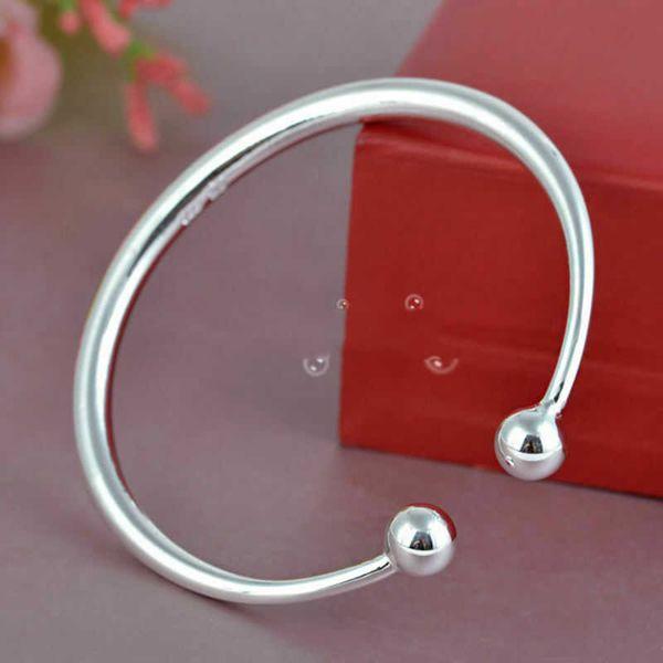 Prata Preto cor do ouro Abrir Liso Charm Bracelet Bangle Beads Mulheres Ladies Bracelet