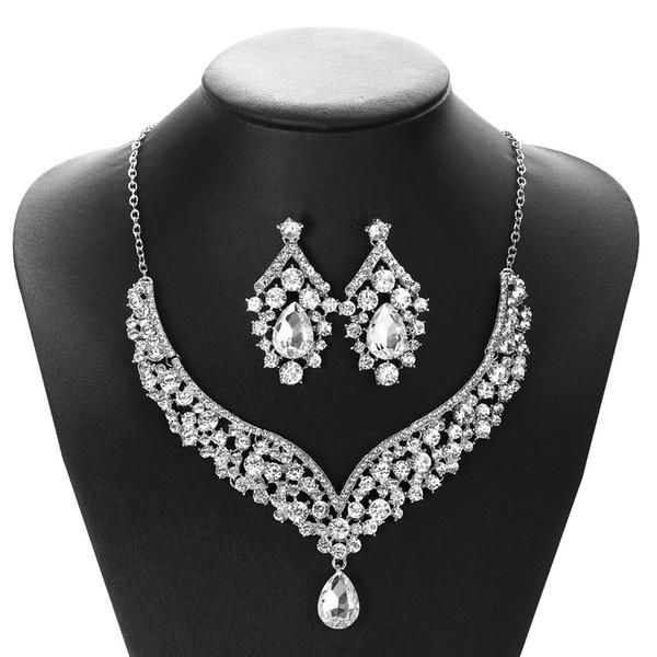 2020 Pendientes collar nupcial elegante plateado plata de la perla del Rhinestone joyería fija Accesorios para el vestido de noche D-022