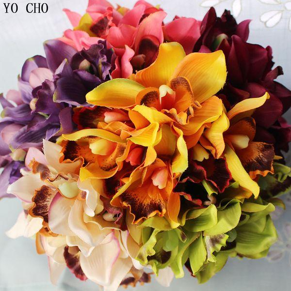 Orchid artificial flowers for wedding decorative silk voilet bridal bouquet Home decoration mariage Party Decoration 7heads