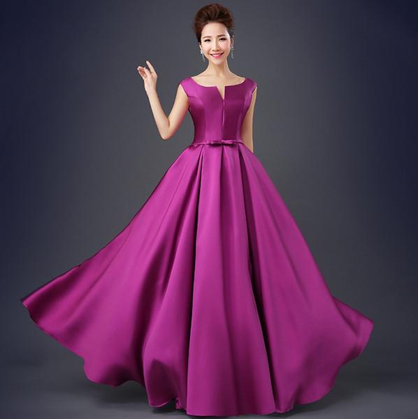 Simple Purple Evening Party Dresses 2019 Long Elegant Scoop Sexy Backless Satin Floor Length Prom Dresses robe de soriee