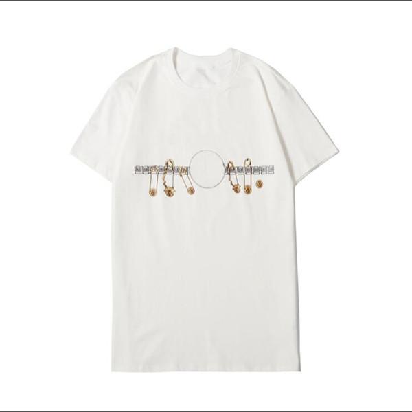 Erkek Kadın Tee Gömlekler 2020 Yaz Pim Printted Tops için Moda Tasarımcısı tişörtleri 2 Renkler İsteğe Boyut S-2XL ZWN20122