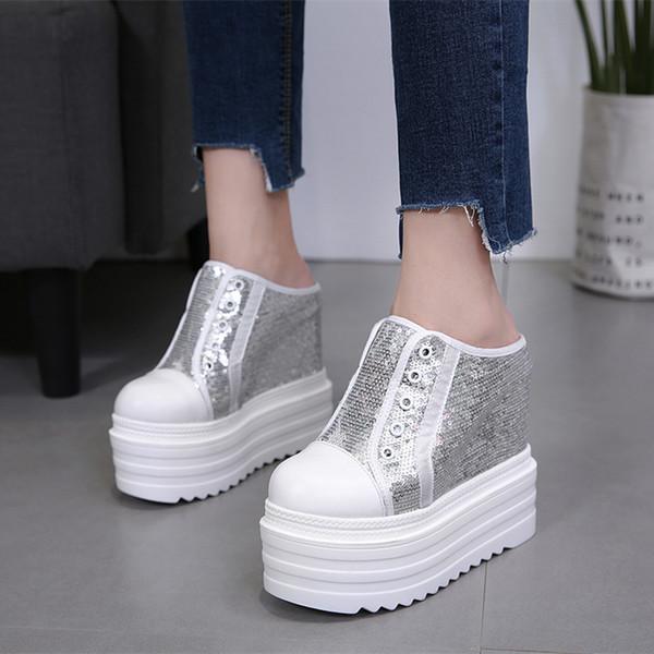 Kadın Yaz Modası Dış Giyim 15cm Takozlar Yüksek Topuk Eğlence Platformu Bling Bling Ayakkabı