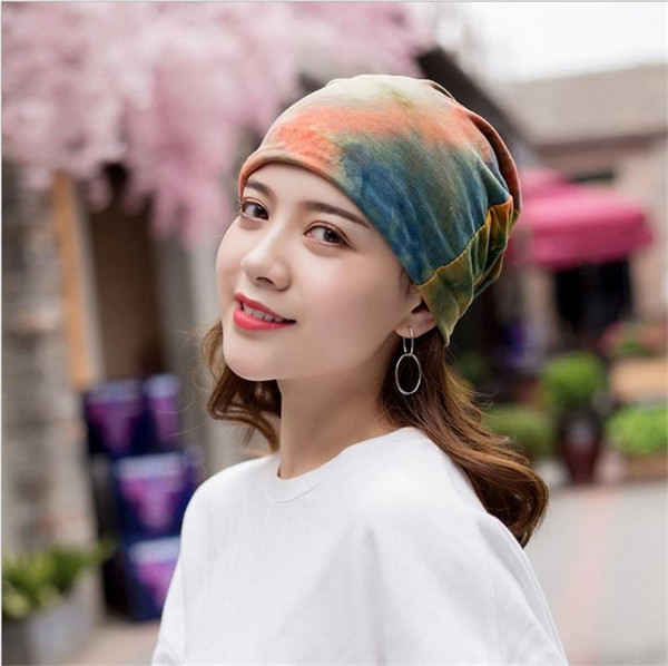 New Pattern Spring And Autumn Korean Tie-dyed Full Cotton Ventilation Set Head Cap Grace Female Sex Scarf Hat Goods In Stock