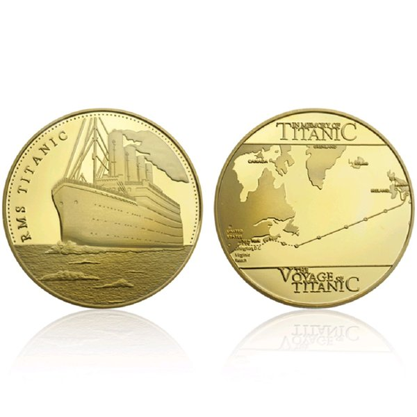 GLSY Hot Selling Voyage Of Titanic Commemorative Coins Golden RMS Wish Souvenir Coin Diameter 40mm Metal Gold-Plating By DHL