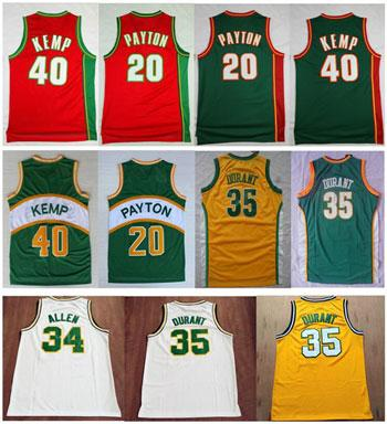 best selling High-Quality Vintage Green Red Yellow White Kevin 35# Durant Jersey Shawn 40# Kemp Jerseys Cheap Gary 20# Payton Jersey Stitched Size S-XXL