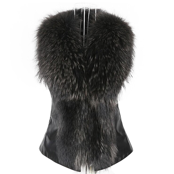 Elegant Womens Faux Fur Vest Jacket Sleeveless Winter Body Warm Coat lady Waistcoat vintage Gilet Hot sale #N04