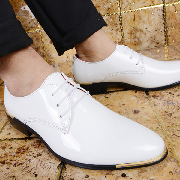 Men Shiny Patent Leather Oxford Shoes Casual Shoes male business gentleman pearlite layer pointed toe zapatos leather